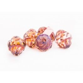 Turbine Beads 11x10mm - Peach with picasso x1