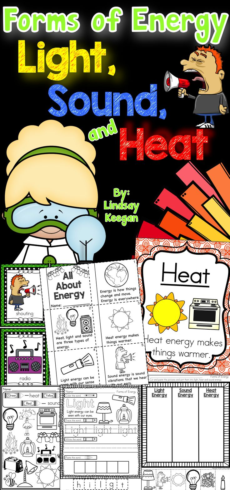Forms of energy ~ Light, sound and heat.  Great for primary science.