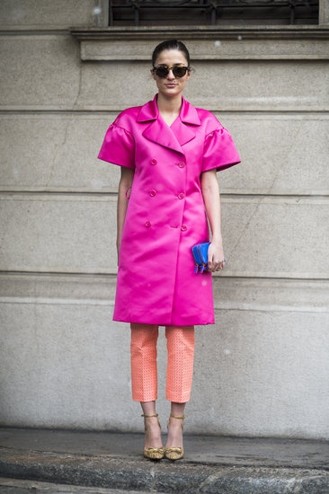 Colorblocked Cool: The brightest outerwear and equally bright pants were well suited for turning heads at the shows. #streetstyle