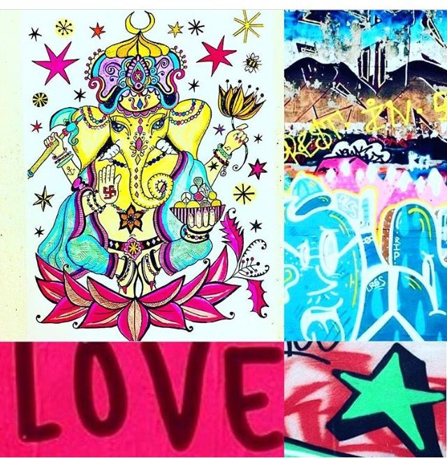Photomashup Love, Peace, Ganesh, my drawing, streetart (details) Brighton, Love graffiti Amsterdam, photos by Lizzie Reakes