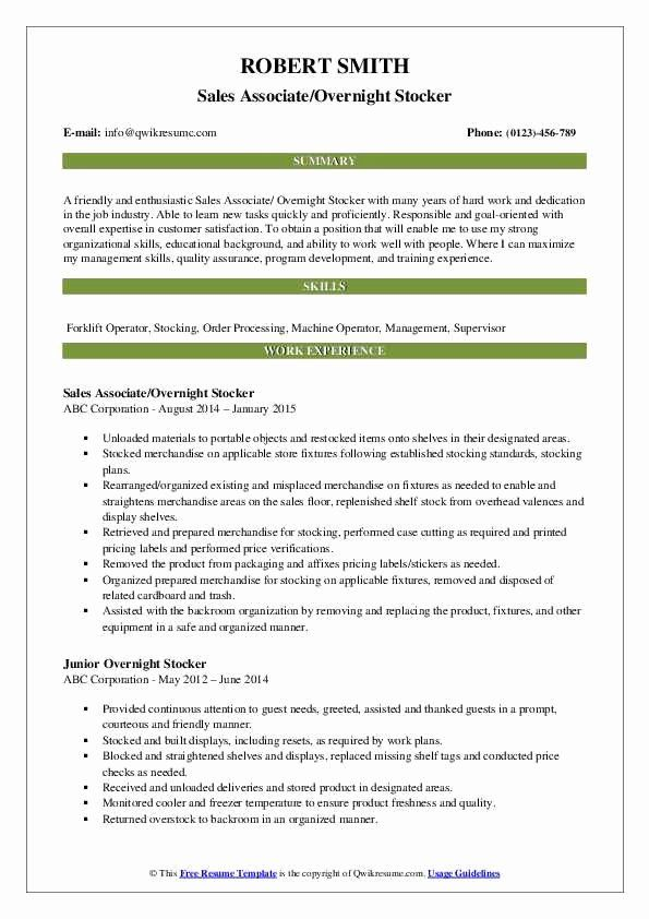 Stocker Job Description Resume Awesome Overnight Stocker Resume Samples Health Teacher Teacher Resume Examples Teacher Resume
