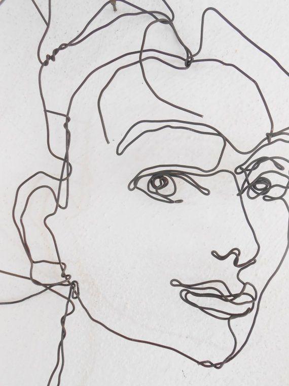 Wire wall Art, Unusual portrait of woman, hanging