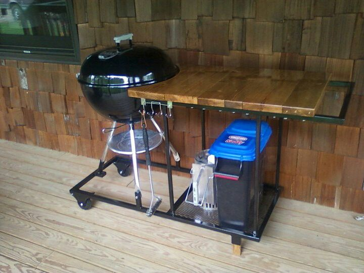 Weber kettle work table modification seen on Internet.