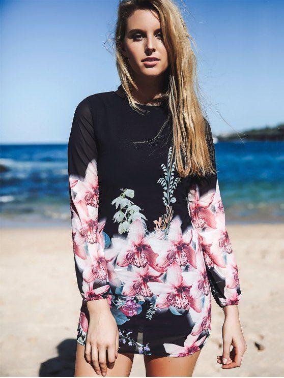 Printed Chiffon Long Sleeves Round Collar Dress - BLACK XL