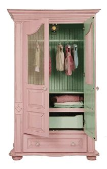 paint the inside of a cabinet a different color- love pink and green!
