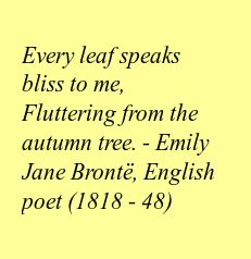 Every leaf speaks bliss to me, Fluttering from the autumn tree. - Emily Jane Brontë, English poet (1818 - 48)