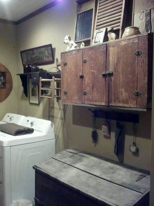 An awesome vignette for the laundry room! All kinds of neat prim touches!!!