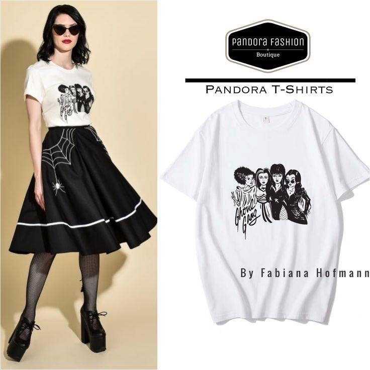T-shirt Elvira, Morticia, Lily, Bride Ghoul Gang Halloween