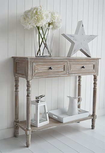 Richmond console table in limed wood with drawers