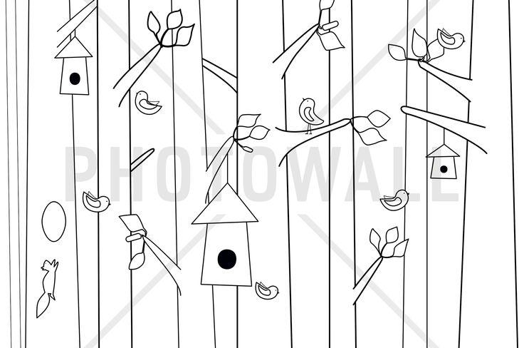 Bird Forest - Black & White - Wall Mural & Photo Wallpaper - Photowall