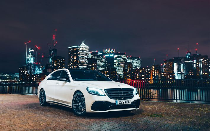Download wallpapers W222, 4k, Mercedes-Benz S63 AMG, 2018 cars, S63, luxury cars, 4MATIC, S-class, Mercedes