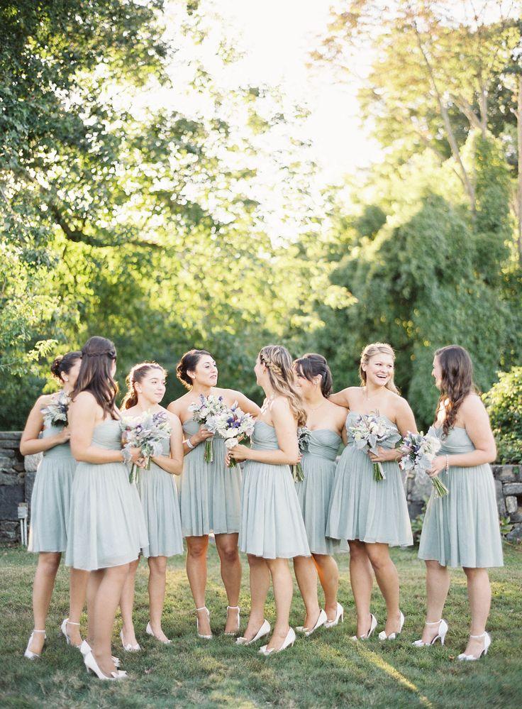 Dusty shale bridesmaid dresses {J.Crew} Photography : Jen Huang - jenhuangphotography.com
