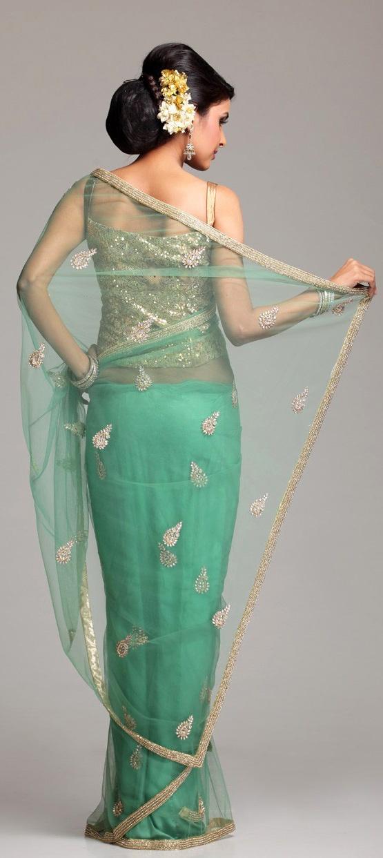 Meena Bazaar Embroidered dull green Net saree