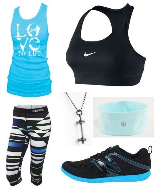 Love to lift tank | nike pro capri  | nike pro victory compression bra | new balance wx20 | lucky luon headband | barbell necklace