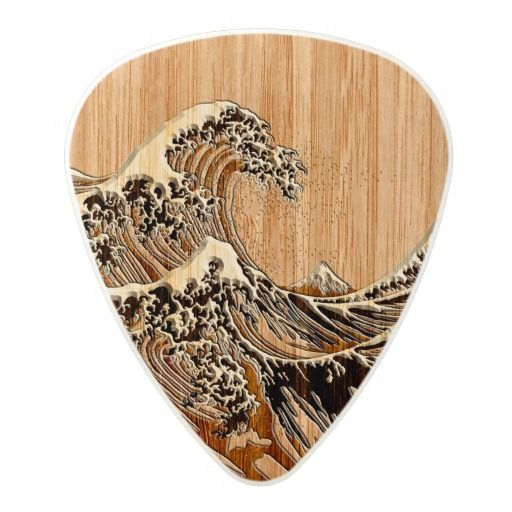 The Great Hokusai Wave Bamboo Wood Inlay Style Polycarbonate Guitar Pick
