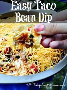 This Easy Taco Bean Dip recipe is the PERFECT appetizer for any party!
