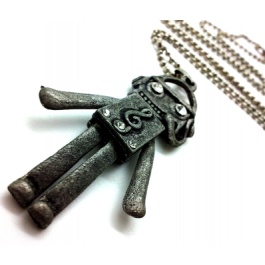 Becky Charcoal Robot Necklace