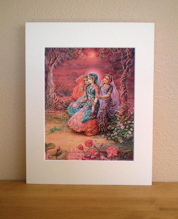 Radha & Sakhis 8x10 matted fine art print fits by ThakuraniArts, $28.00