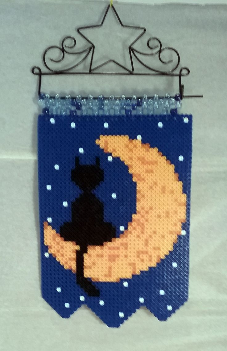 Cat on the Moon  Made with Perler Beads