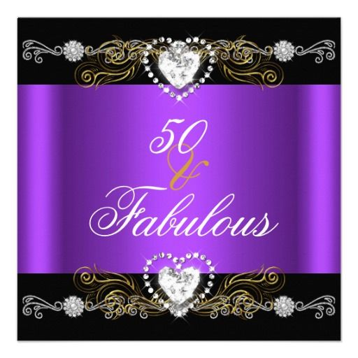 50th And Fab: Fabulous 50 Purple Black Silver Gold 50th Birthday