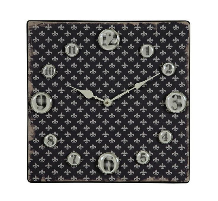Black Fleur de lis Square Metal Wall Clock.: Numbers Lots, Glasses Numbers, Black Metal, Wall Clocks Actu, Square Clocks, Clocks Features, Squares Clocks