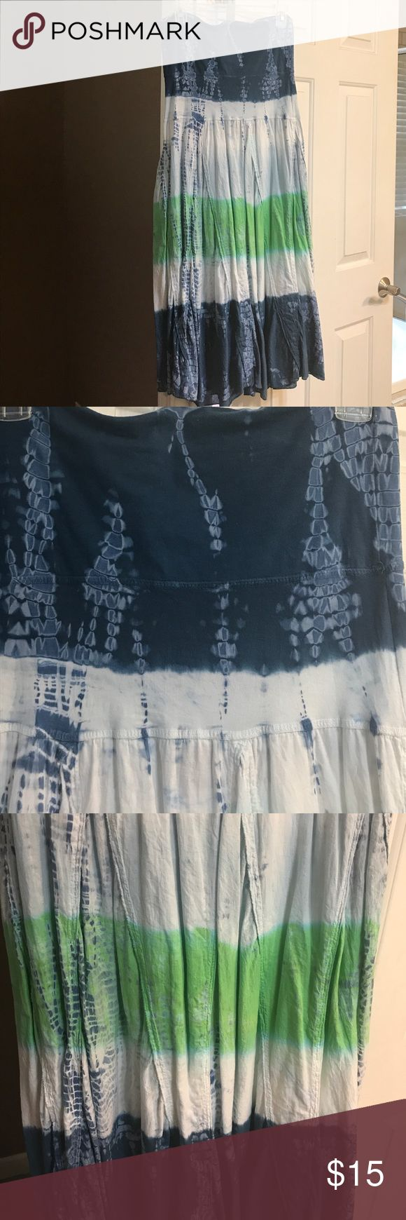 Boho Tie Dye Skirt Cute Boho tie dyed skirt with wide waist band that folds over.. Dark blue, pale blue and green.. I'm 5'6 with band folded over comes to my ankle.. gently used condition.. nonsmoking home.. please message me with any additional questions😊 Tracy Evans Skirts