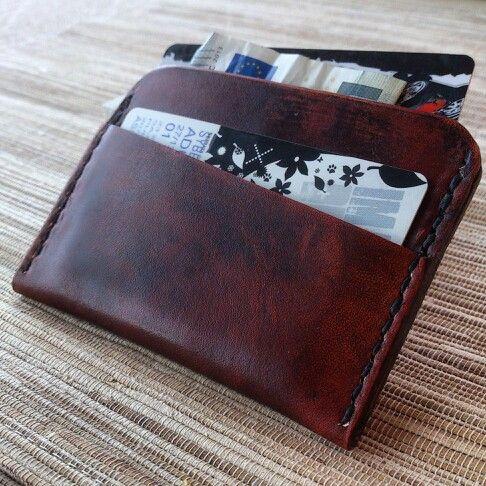 Minimalist leather wallet / porte carte minimaliste en cuir pleine fleur - mrtomatelier - alittlemarket