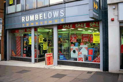 Rumbelows, an 80s electrical goods chain, with very small shops on high streets…