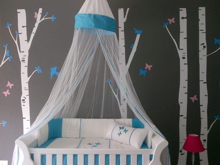 Baby cot set - Turquoise & white embroidered with beautiful butterflies.   Orders@borderboutique.co.za, deliveries within South Africa only.