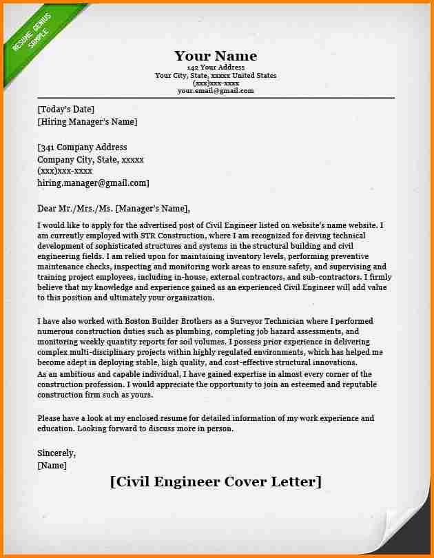 cover letter for civil engineering internship vil engineer example - Ejemplo De Cover Letter
