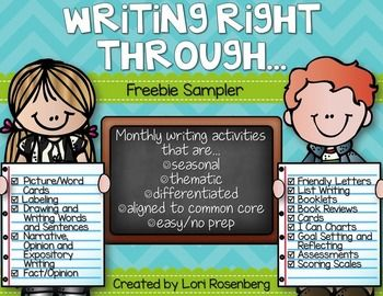 Click here to see my newest blog post about this writing series. Welcome to my Writing Right Through...series! This freebie sampler shows off some of the activities included in these monthly writing packs.Writing Right Through...contains seasonal and theme related writing activities for each month of the year, all correlated to the common core standards.