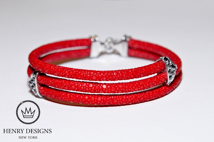 #Crimson #Tide #Sting - Set in #Silver with .75 #Carat of #Black Diamonds - Bracelet #Jewelry available in #Gold #Platinum #Diamond #Flawless #Fashion #Style #Brand #Bracelets #Beautiful #Stunning #Unisex #Armcandy #Stingray #Colors #Handmade #NewYork #NY #Luxury #Statement #class #style
