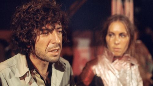 Leonard Cohen at the 1970 Isle of Wight festival. He was woken up at 2am to perform on stage with his band. Photo by Charles Everest
