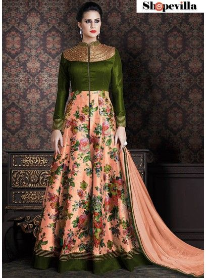 New Peach & Green Colour Silk Designer Anarkali Suit-4706-B