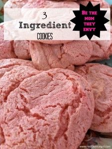 These yummy cookies are not only simple to make with only 3 ingredients but more importantly they are PINK! Perfect Valentines Day treat!