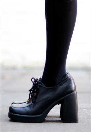 1990's black grunge block heels £28.00