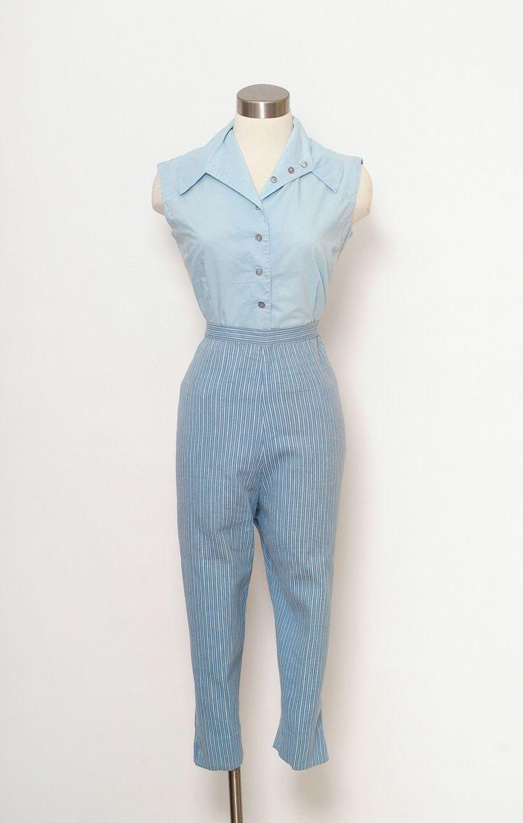 Vintage 50s capri pants / Vintage 50s Womens High Waist Pencil Pants / midcentury Size L-XL/ Cigarette Pants / Pin up Rockabilly 60s mad men by VintageBoxFashions on Etsy