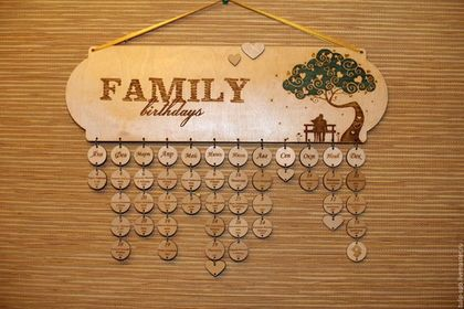Персональные подарки ручной работы. Ярмарка Мастеров - ручная работа. Купить Семейный календарь Love Story. Handmade. Золотой, фанера