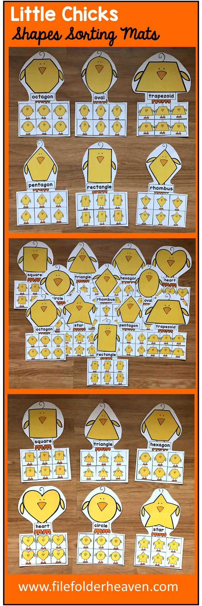 These Chicks Shape Sorting Mats include 12 unique sorting mats that focus on sorting chicks by shapes.  In a center or independent work station, students sort chick shapes into the mat with the chick that has the same shape. Shape mats included are:  circle square triangle rectangle oval heart star rhombus trapezoid pentagon hexagon octagon