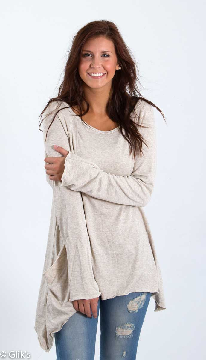 Elan Clothing Knit Top with Pocket in Sand