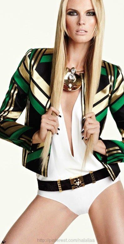 """If I wore this sweet jacket, I'd forget my pants too."" -doubleVenti    (Fashion: Vogue Mexico Anne Vyalitsyna.)"