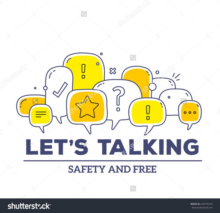 Vector Illustration Of Yellow Color Dialog Speech Bubbles With Icons And Text Let'S Talking On White Background. Safety Communication Technology Concept. Thin Line Art Flat Design Of Mobile Technology - 418778743 : Shutterstock