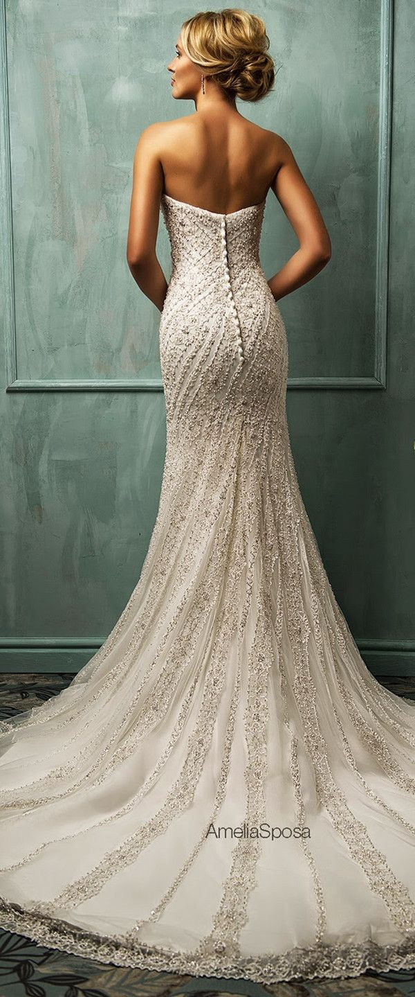 **I like this dress as it exposes the shoulders and back. I think that this would look nice with an up or down do, and I also think that this dress would be best suited for someone with a shorter neck length.**    amelia sposa vintage sequins mermaid long wedding dresses
