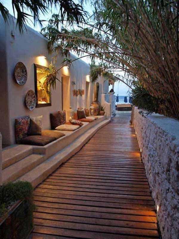 cool design de jardin et de terrasse avec banc et allée de jardin en bois #cool …   – Garden DIY Decor