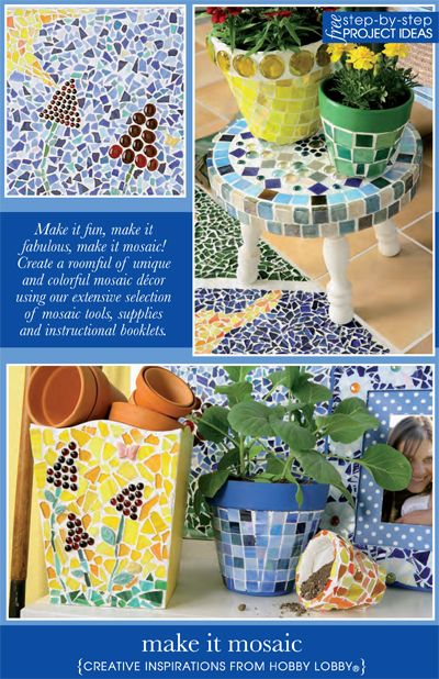 Make it fun, make it fabulous, make it mosaic! Create a roomful of unique and colorful mosaic decor using our extensive selection of mosaic tools, supplies and instructional booklets.