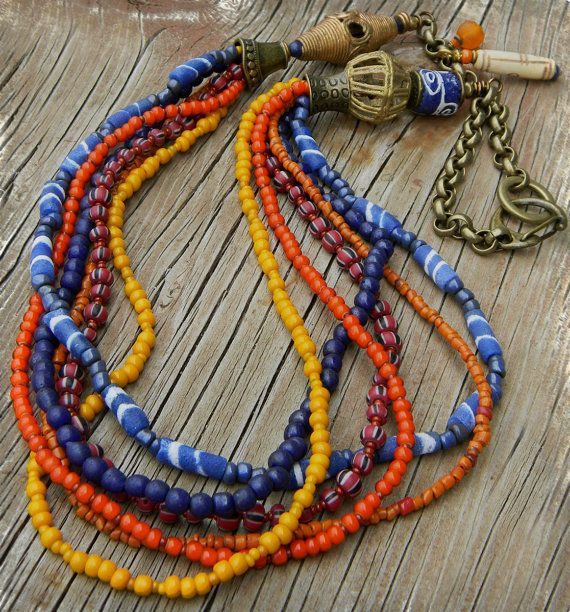 Colorful Trade Bead Necklace Brass African Brass by ChrysalisToo