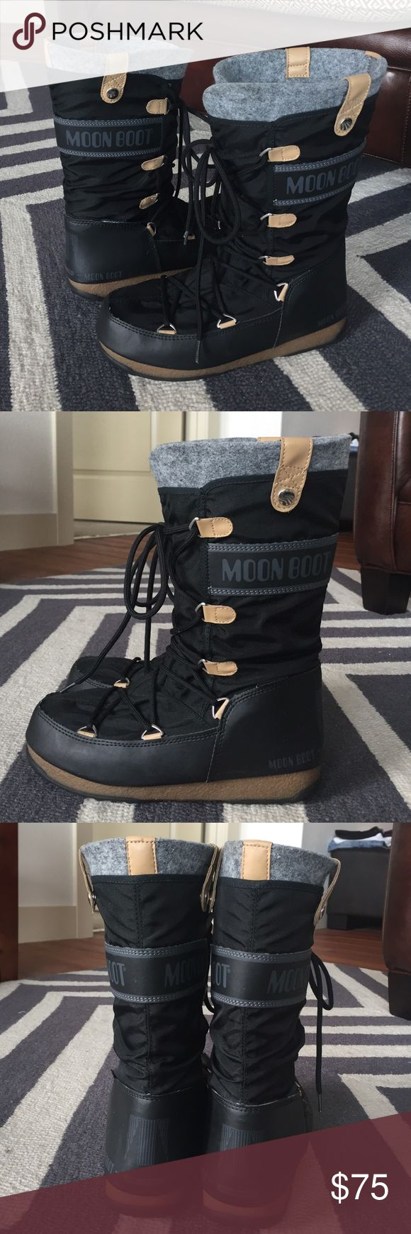 """NWOT Tecnica Moon Boot Tecnica Moon Boot Monaco Felt. Waterproof nylon and synthetic upper. Easy lace-up design. Removable felt lining. Cushioned footbed. Rubber outsole. Circumference: 14.5"""". Shaft: 11.25"""". Super comfortable! A really sleek and trendy look for winter! Just worn around house, never outside. NWOT. Moon Boot Shoes Winter & Rain Boots"""