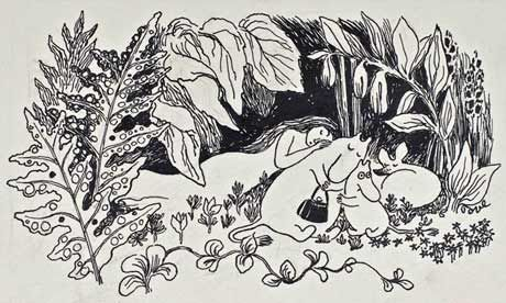 An illustration from The Moomins and the Great Flood. Photograph: Tove Jansson/Oy Moomin Characters