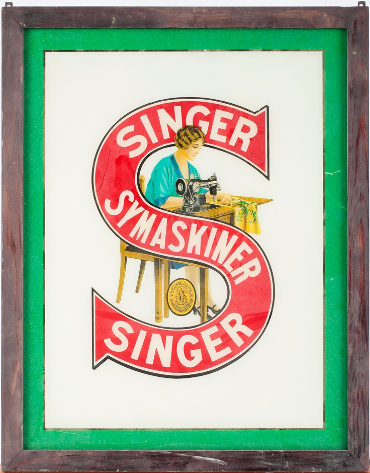 Advertising Signs in glass. Singer Sewing Machines, 1920.