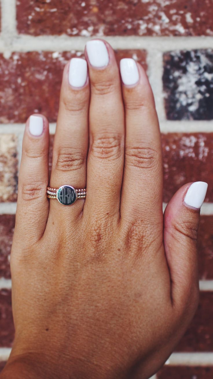 This NEW Monogrammed Mixed Ring Set is made up of sterling silver, gold, and rose gold so you can match it with ANY jewelry! We are loving its boho preppy feel! Get yours now at Marleylilly.com!